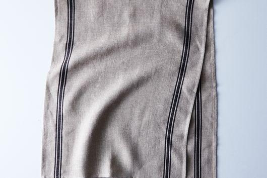 Oatmeal Linen Striped Tablecloth & Runner
