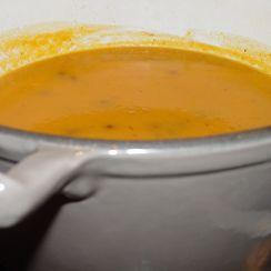 Carrot Potato Soup with Tiny Buffalo Meatballs