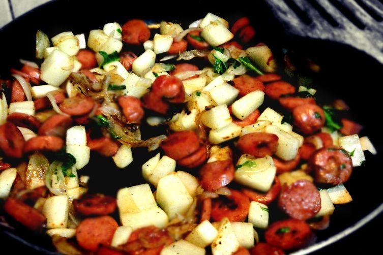 Radish and Sausage Quiche