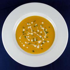 Butternut-Apple Soup with Maple Cream