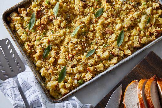 Sheet-Pan Cornbread Stuffing With Sage