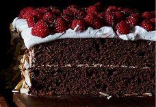 Dark Chocolate Raspberry Sheet Cake Layer Cake