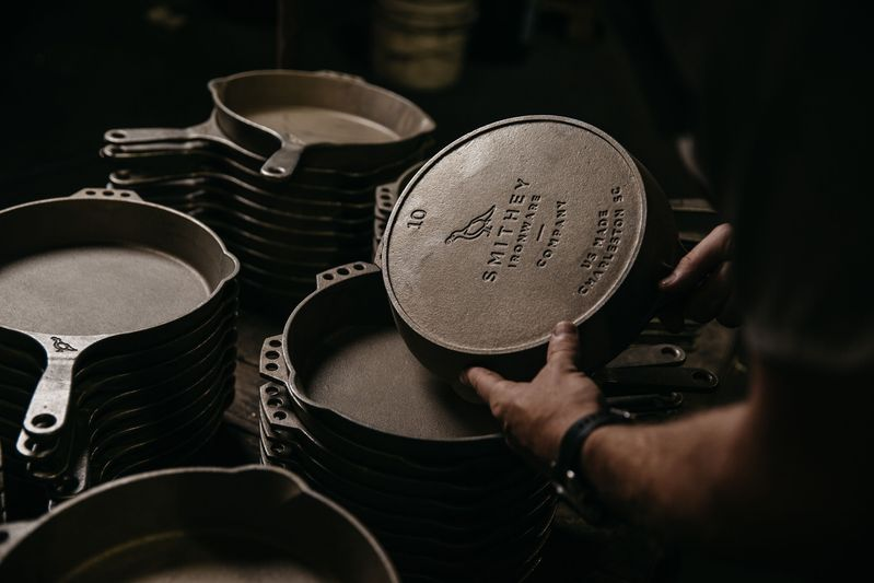 The Smithey logo is imprinted into each cast iron skillet.