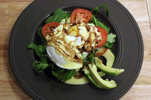 Eggs Benedict with Arugula, Avocado, Tomato and Balsamic Glaze