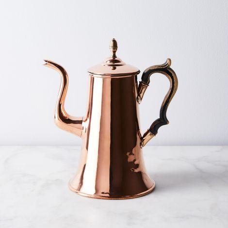 Vintage Copper English Elegant Coffee Pot, Late 19th Century