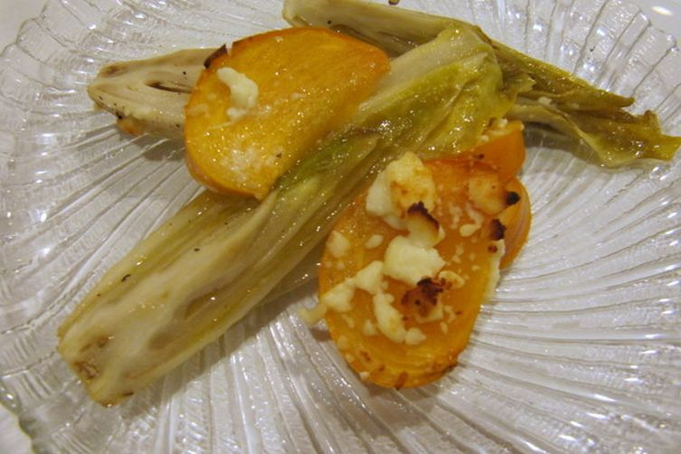 Roasted Endive with Persimmon, Citrus and Feta