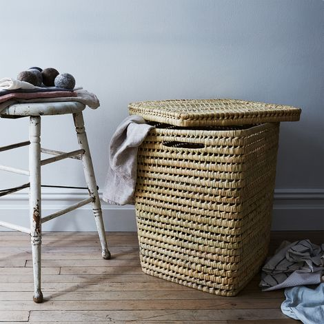 Woven Moroccan Laundry Basket with Lid