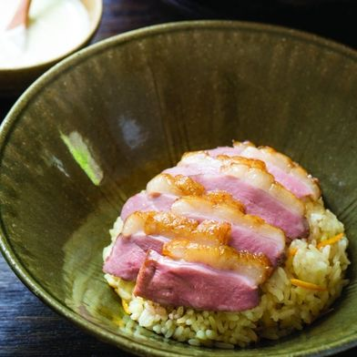 Smoked Duck Breast with Creamy Wasabi-Green Onion Dipping Sauce