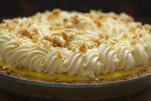 Banana Cream Pie with Macadamia Nut, Honey & Cardamom Brittle
