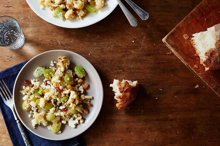 Cauliflower Salad with Pickled Grapes, Cheddar Cheese & Almonds