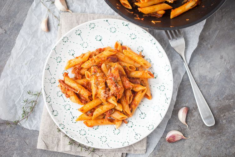 Penne in Tomato Sauce with Salami