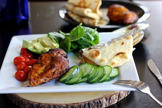 Tandoori chicken salad with mint garlic buttermilk dressing