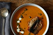 Seared Fresh Sardines and Tomato Soup