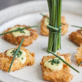 Paprika Panko Crusted Feta Cheese Bites (with Lemon Garlic Aioli and Chives)