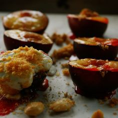 Baked Plums with Creme Fraiche and Marcona Almonds