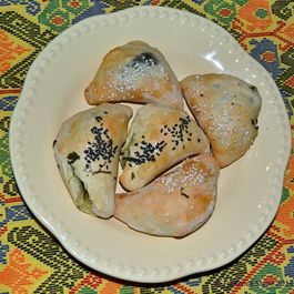 Spinach Sambusak (Savory Middle Eastern Pastry)
