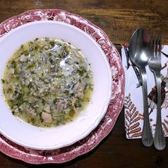 The traditional Greek Easter lamb offal soup (magiritsa) made with chicken