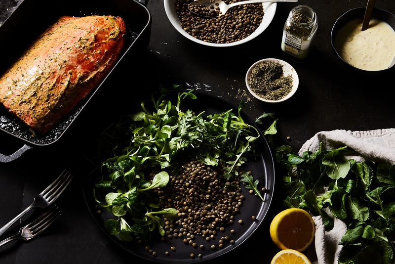 Salmon cooked low and slow meets well-dressed lentils.