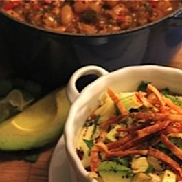 Spicy Chicken and Sausage Chili with White Beans and Peppers