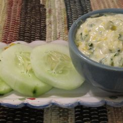 Creamy Basil Dip with Honey, Lemon, and Goat Cheese