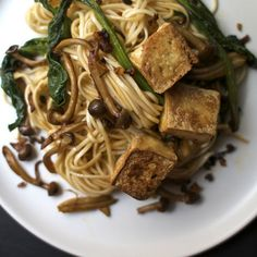 Spicy Udon Noodles with Peppercorns, Mushrooms + Chinese Broccoli