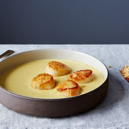 Jalapeño Corn Soup with Seared Scallops
