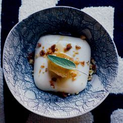 Brown Sugar Sage Panna Cotta with Spiced Candied Walnuts