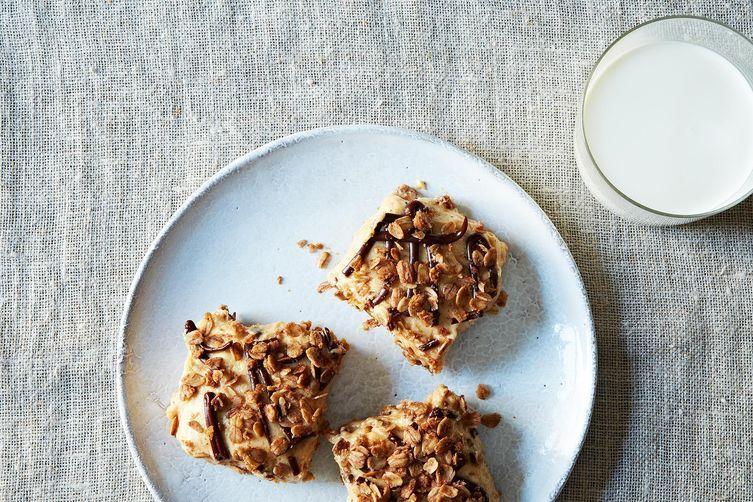 Granola Peanut Butter Icebox Bars with Oatmeal Cocoa Streusel