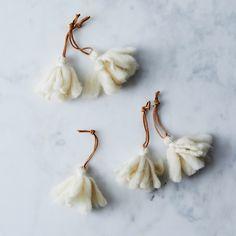 White Tassel Ornaments (Set of 5)