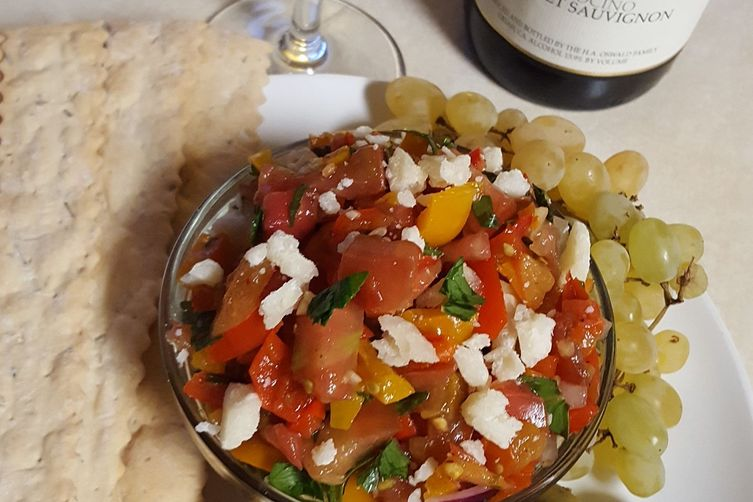 Italian Salsa with fresh Heirloom Tomatoes and Golden Peppadews