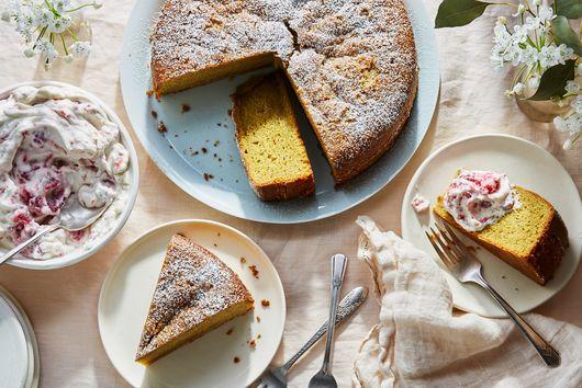 Food-Processor Pistachio Cake With Raspberry Cream