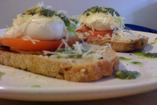 Pesto Poached Egg Stacks