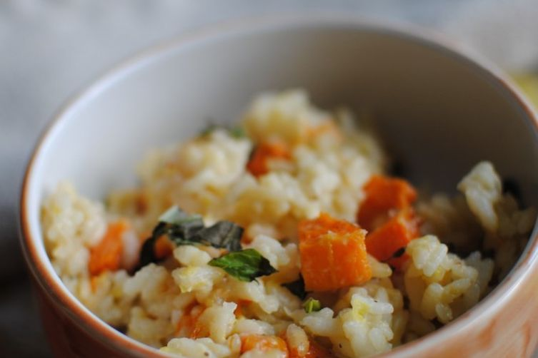 Butternut Squash Risotto with Leeks & Basil