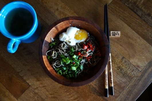 Black Sesame Noodles with Scallions and Chiles