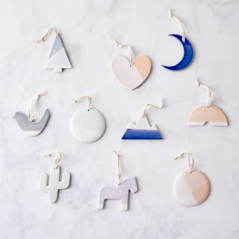 Hand-Dipped Ceramic Ornaments