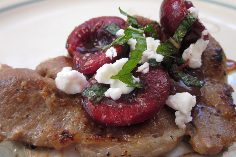 Lemongrass Pork Chops with Minted Cherry Salsa