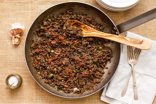 Picadillo Ground Beef with Tomatoes, Olives, and Raisins