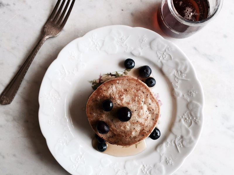 Lemon poppy cassave pancakes