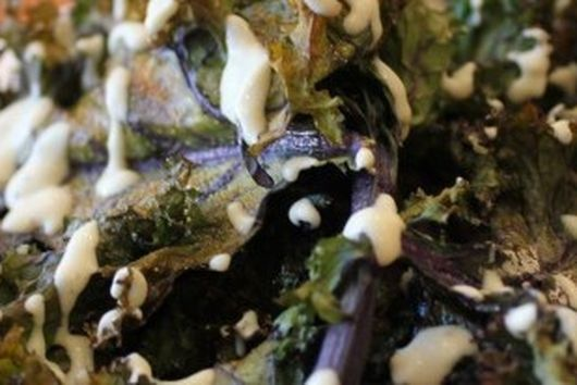 Garlic Kale Chips with a Lemon Tahini Drizzle