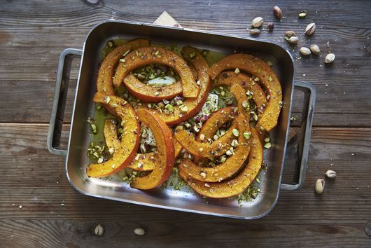 Cumin-Roasted Squash Wedges with Pistachio-Feta Dip