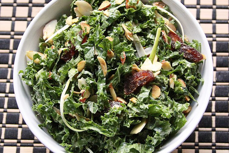 Tahini Kale Salad with Dates and Almonds