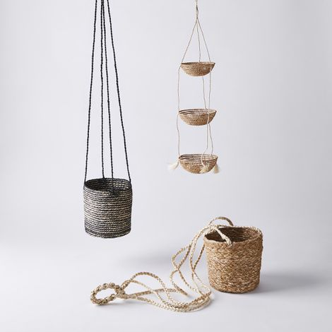 Handwoven Hanging Baskets and Planters
