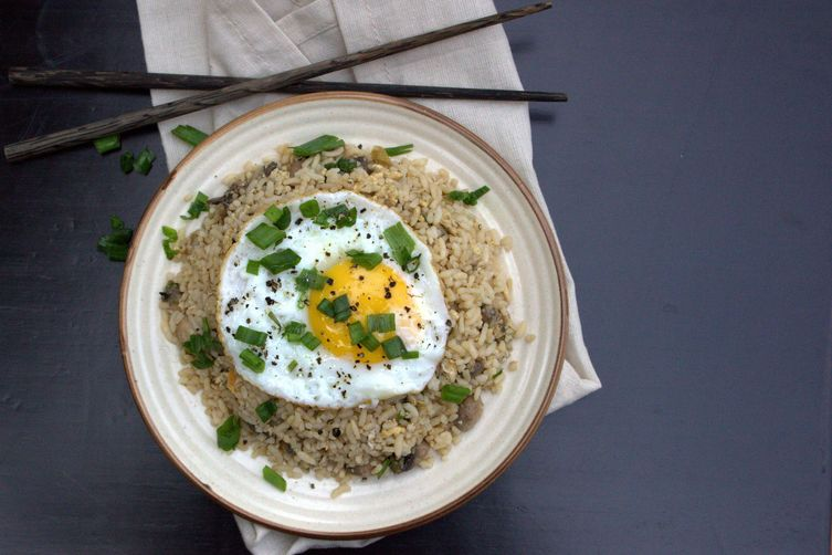 BLACK BEAN, EGG, AND MUSHROOM FRIED RICE