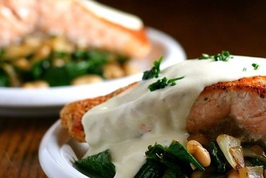 Salmon with White Beans and Kale