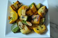 Zucchini and Summer Squash with Chili, Mint and Toasted Almonds