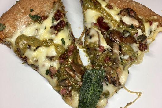 Saged Date, Mushroom and Pancetta Pizza