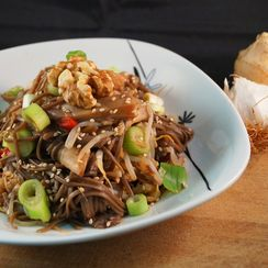 Oyster Mushroom, Ginger & Sesame Stir Fry with a Hot Soy & Walnut Sauce