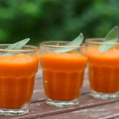 Creamy carrot soup with brown butter and sage