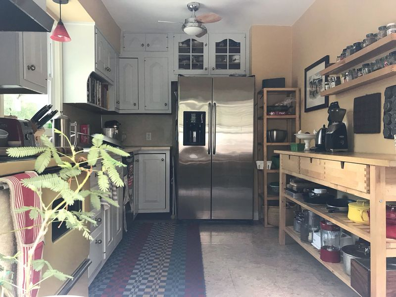 Current kitchen (as seen from outside of the west window).