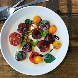 Basil Parmesan Panna Cotta with Cherries and Tomato